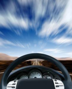 Steering wheel on a highway